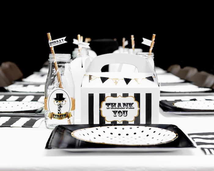 Monochromatic Glam Table Setting from a Golden Circus Birthday Party on Kara's Party Ideas | KarasPartyIdeas.com (30)