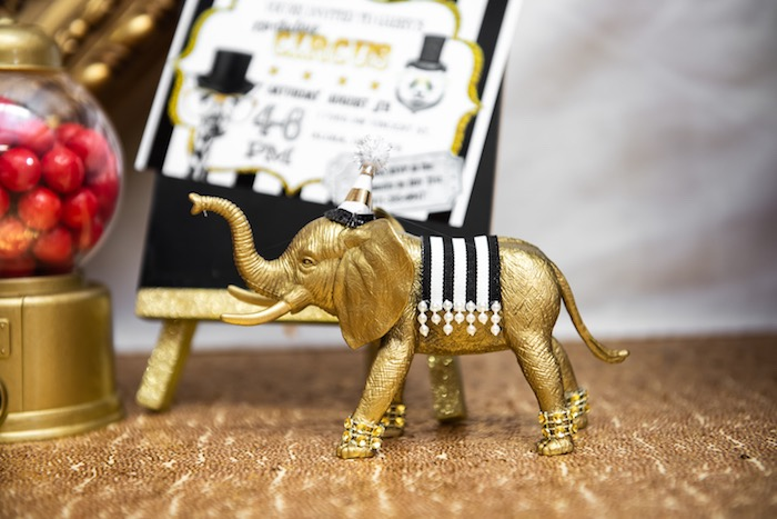 Gold Circus Elephant from a Golden Circus Birthday Party on Kara's Party Ideas | KarasPartyIdeas.com (11)