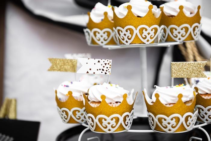 Gold Crown + Circus Cupcakes from a Golden Circus Birthday Party on Kara's Party Ideas | KarasPartyIdeas.com (10)