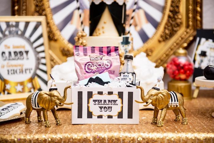 Circus Party Favor Box from a Golden Circus Birthday Party on Kara's Party Ideas | KarasPartyIdeas.com (7)