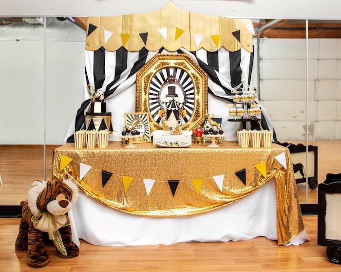 Golden Circus Birthday Party Table on Kara's Party Ideas | KarasPartyIdeas.com (25)
