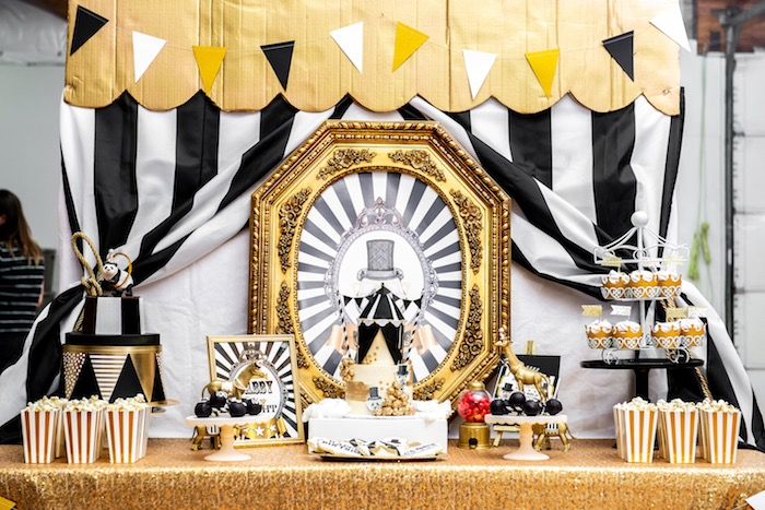 Monochromatic Glam Circus Party Table from a Golden Circus Birthday Party on Kara's Party Ideas | KarasPartyIdeas.com (23)