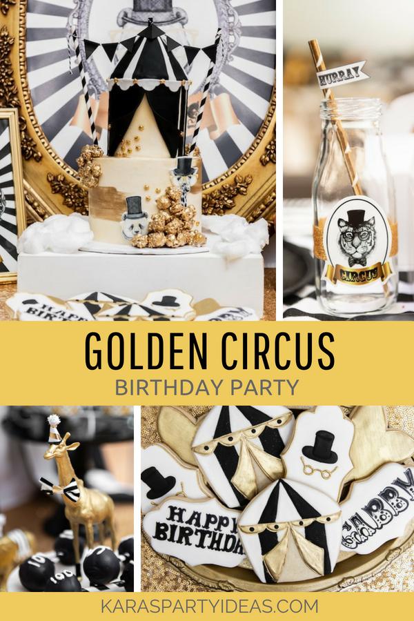 Golden Circus Birthday Party via Kara's Party Ideas - KarasPartyIdeas.com