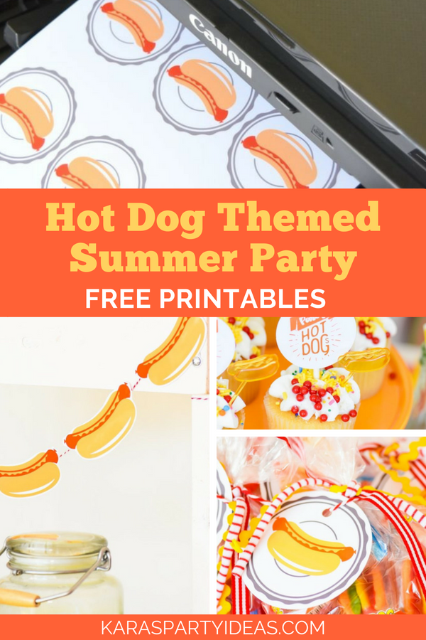 Hot Dog Themed Summer Party - Free Printables! via Kara's Party Ideas - KarasPartyIdeas.com