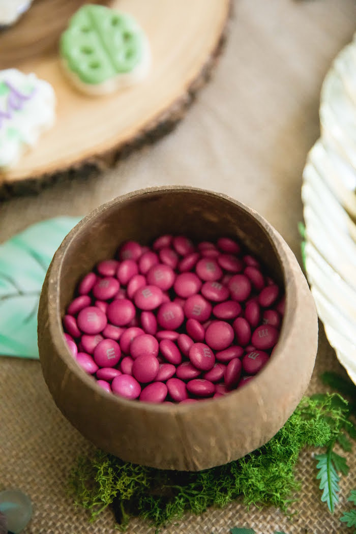 Pink M&M's in a Coconut Bowl from a Jungle Book Party Made for a Princess on Kara's Party Ideas | KarasPartyIdeas.com (37)
