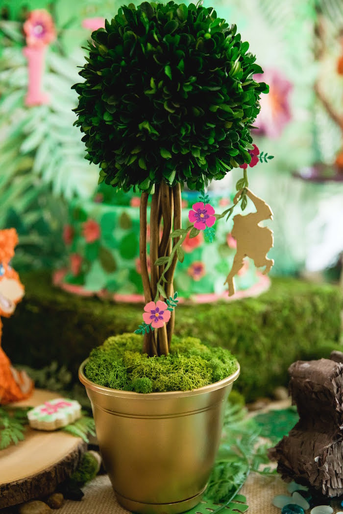 Jungle Tree & Monkey Table Centerpiece from a Jungle Book Party Made for a Princess on Kara's Party Ideas | KarasPartyIdeas.com (33)