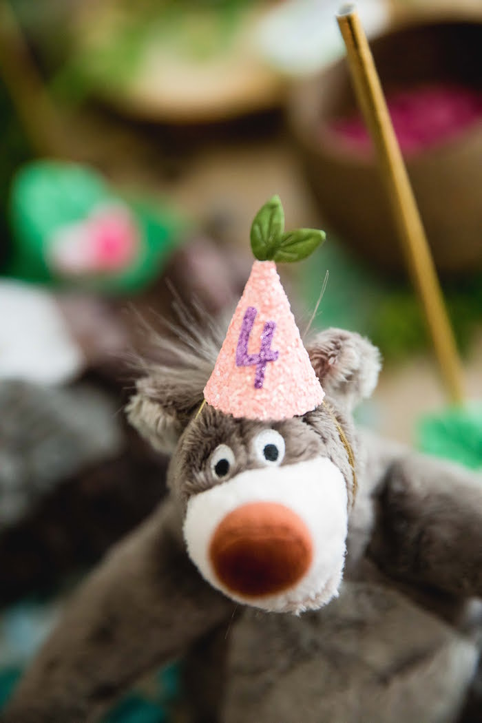 Plush Baloo wearing a party hat from a Jungle Book Party Made for a Princess on Kara's Party Ideas | KarasPartyIdeas.com (26)