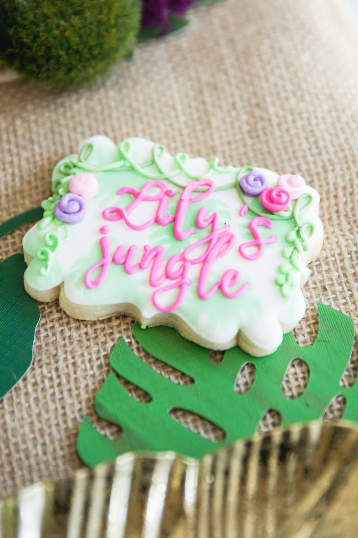 Girly Jungle Cookie from a Jungle Book Party Made for a Princess on Kara's Party Ideas | KarasPartyIdeas.com (24)