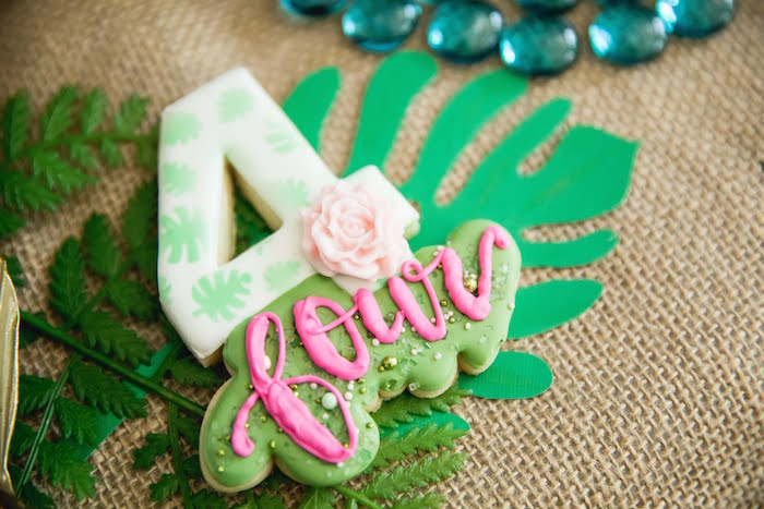 Jungle Leaf Cookie from a Jungle Book Party Made for a Princess on Kara's Party Ideas | KarasPartyIdeas.com (23)