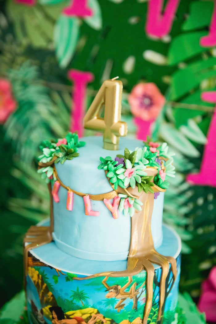 Jungle Book Cake from a Jungle Book Party Made for a Princess on Kara's Party Ideas | KarasPartyIdeas.com (20)