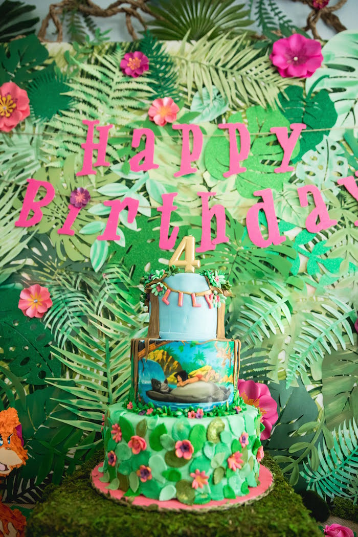 Jungle Book Cake from a Jungle Book Party Made for a Princess on Kara's Party Ideas | KarasPartyIdeas.com (19)