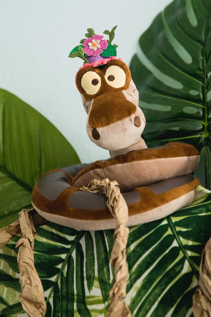 Party hat-wearing Plush Kaa from a Jungle Book Party Made for a Princess on Kara's Party Ideas | KarasPartyIdeas.com (17)