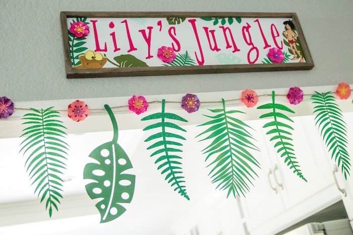 Jungle Party Banners + Leaf Bunting from a Jungle Book Party Made for a Princess on Kara's Party Ideas | KarasPartyIdeas.com (16)