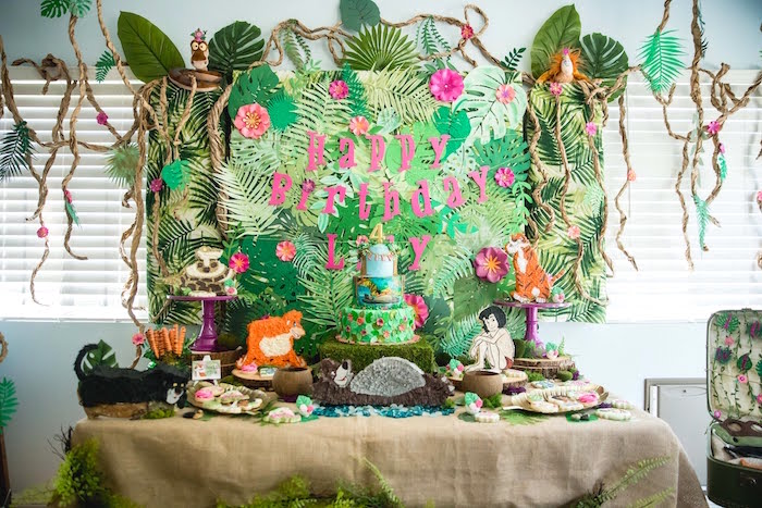 Girly Jungle Book Party Table from a Jungle Book Party Made for a Princess on Kara's Party Ideas | KarasPartyIdeas.com (13)