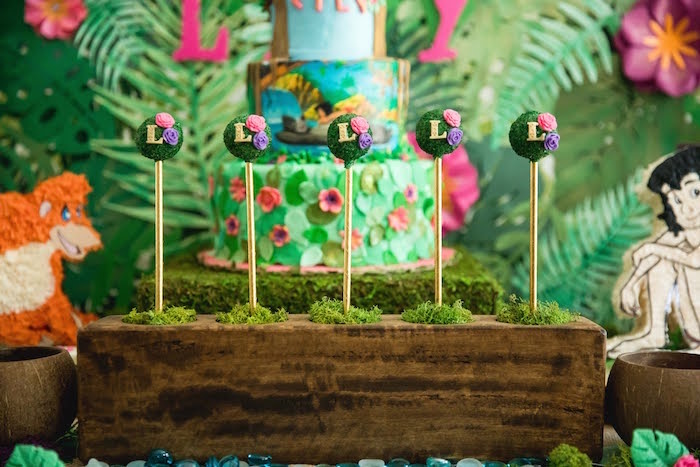 Jungle Cake Pops from a Jungle Book Party Made for a Princess on Kara's Party Ideas | KarasPartyIdeas.com (12)