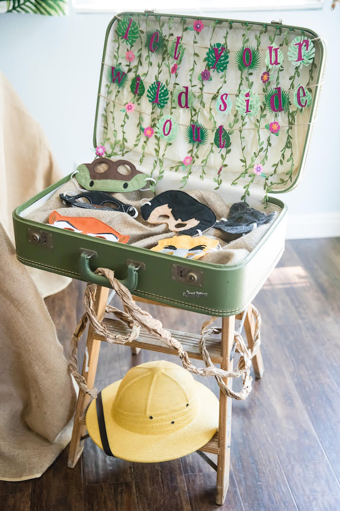 Wild Side Suitcase from a Jungle Book Party Made for a Princess on Kara's Party Ideas | KarasPartyIdeas.com (9)