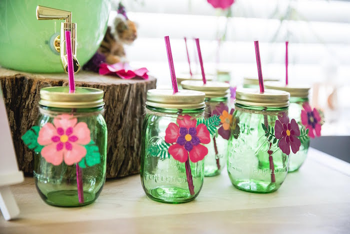 Jungle Mason Drink Jars from a Jungle Book Party Made for a Princess on Kara's Party Ideas | KarasPartyIdeas.com (6)