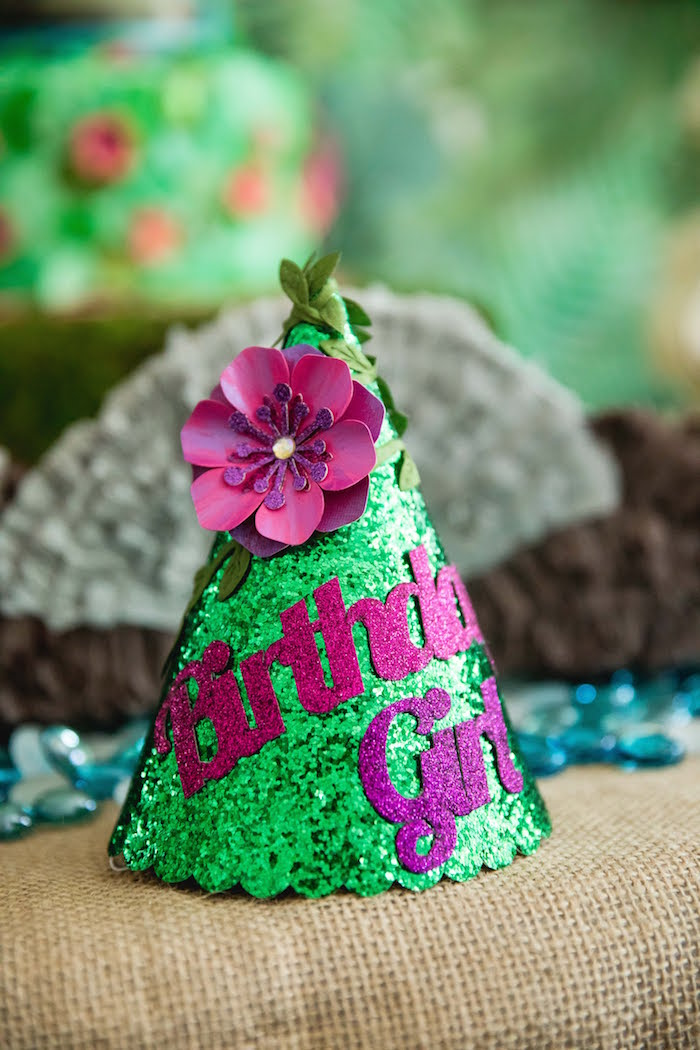 Girly Jungle Party Hat from a Jungle Book Party Made for a Princess on Kara's Party Ideas | KarasPartyIdeas.com (48)