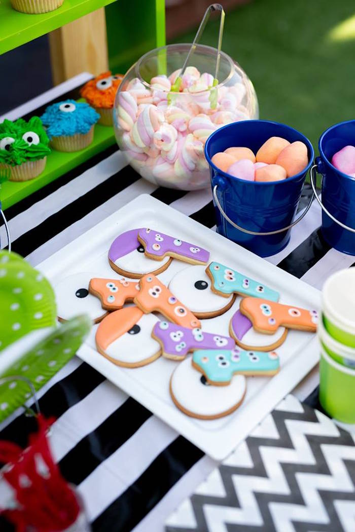 Monster Cookies + Sweet Table from a Little Monsters Birthday Party on Kara's Party Ideas | KarasPartyIdeas.com (16)