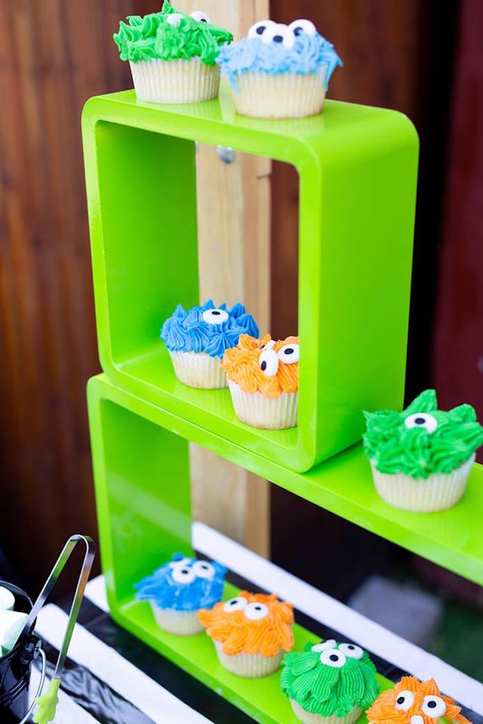 Green Cupcake Shelf from a Little Monsters Birthday Party on Kara's Party Ideas | KarasPartyIdeas.com (14)