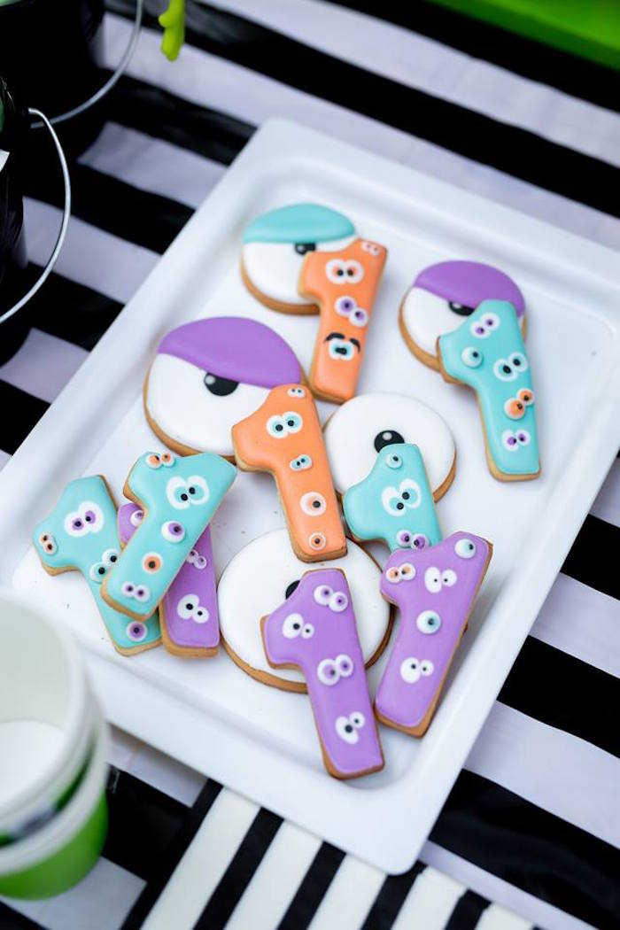 Monster Cookies from a Little Monsters Birthday Party on Kara's Party Ideas | KarasPartyIdeas.com (13)