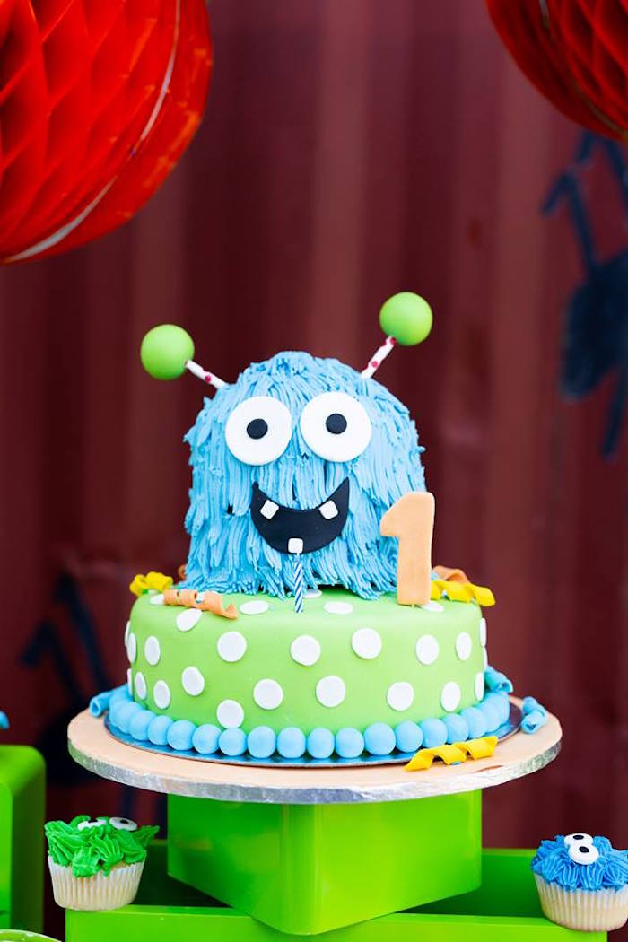 Monster Cake from a Little Monsters Birthday Party on Kara's Party Ideas | KarasPartyIdeas.com (11)