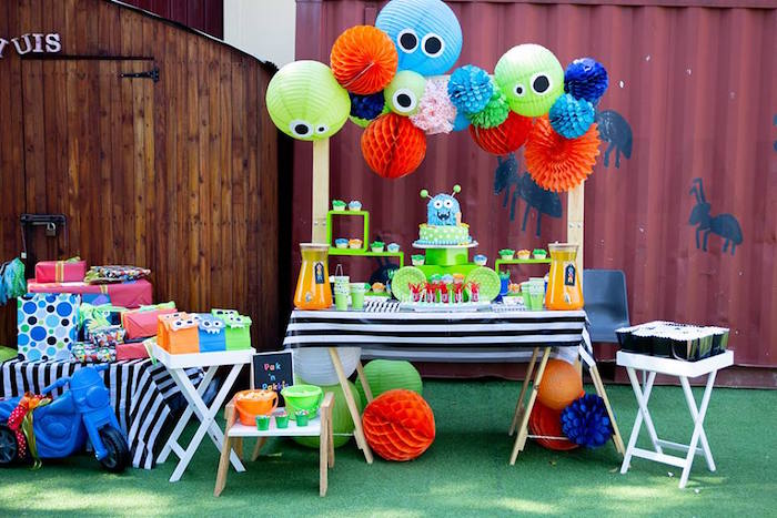 Monster Themed Dessert Table from a Little Monsters Birthday Party on Kara's Party Ideas | KarasPartyIdeas.com (9)