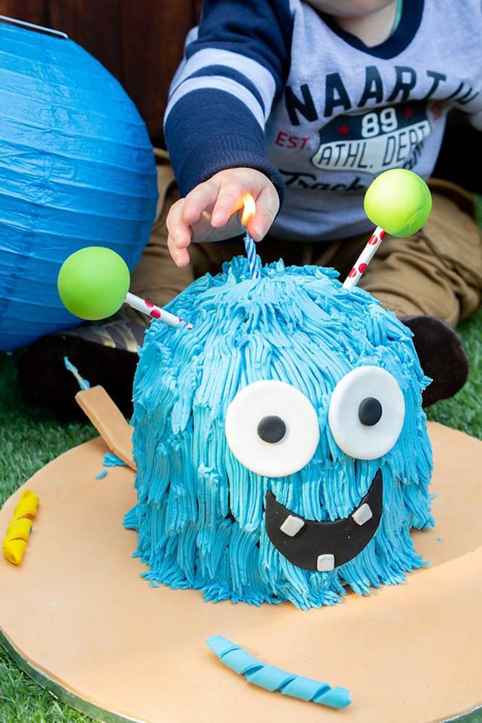 Monster Cake from a Little Monsters Birthday Party on Kara's Party Ideas | KarasPartyIdeas.com (8)