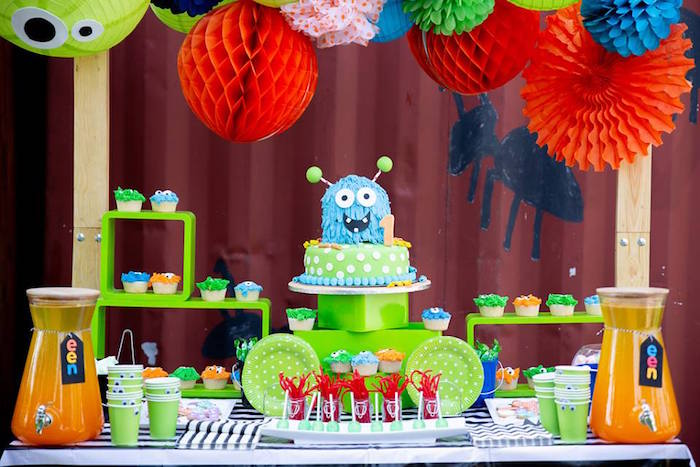 Monster Party Table from a Little Monsters Birthday Party on Kara's Party Ideas | KarasPartyIdeas.com (18)