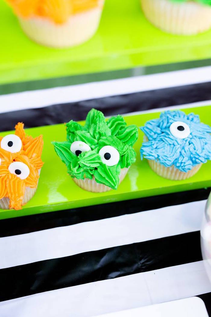 Monster Cupcakes from a Little Monsters Birthday Party on Kara's Party Ideas | KarasPartyIdeas.com (17)