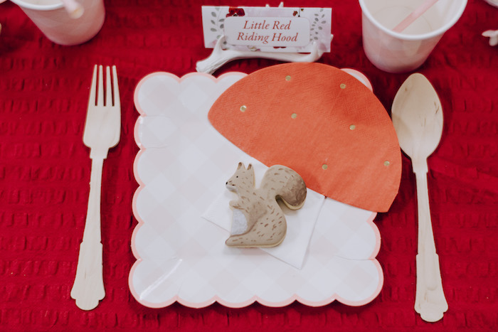 Little Red Riding Hood Table Setting from a Little Red Riding Hood Birthday Party on Kara's Party Ideas | KarasPartyIdeas.com (6)