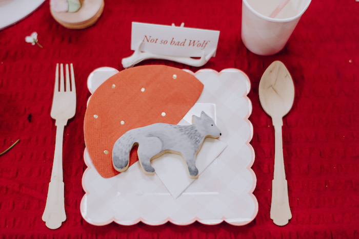 Little Red Riding Hood Table Setting from a Little Red Riding Hood Birthday Party on Kara's Party Ideas | KarasPartyIdeas.com (5)