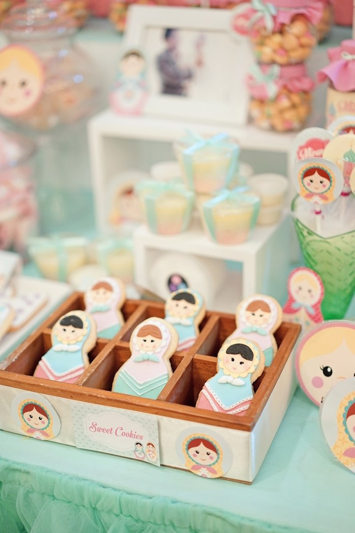 Matryoshka Doll Cookies from a Matryoshka Russian Doll Birthday Party on Kara's Party Ideas | KarasPartyIdeas.com (6)