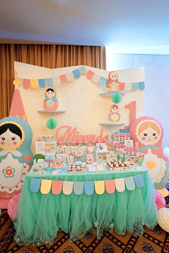 Matryoshka Doll Themed Dessert Table from a Matryoshka Russian Doll Birthday Party on Kara's Party Ideas | KarasPartyIdeas.com (17)