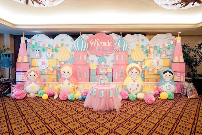 Matryoshka Doll Party Backdrop + Cake Table from a Matryoshka Russian Doll Birthday Party on Kara's Party Ideas | KarasPartyIdeas.com (13)