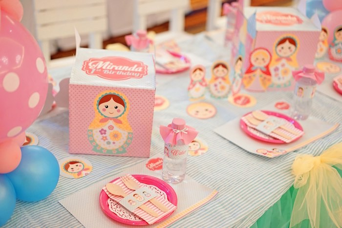 Matryoshka Doll Guest Table + Place Settings from a Matryoshka Russian Doll Birthday Party on Kara's Party Ideas | KarasPartyIdeas.com (12)