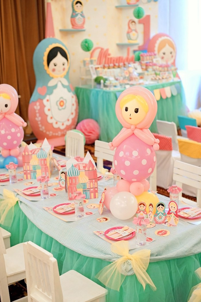 Matryoshka Doll Guest Table from a Matryoshka Russian Doll Birthday Party on Kara's Party Ideas | KarasPartyIdeas.com (10)
