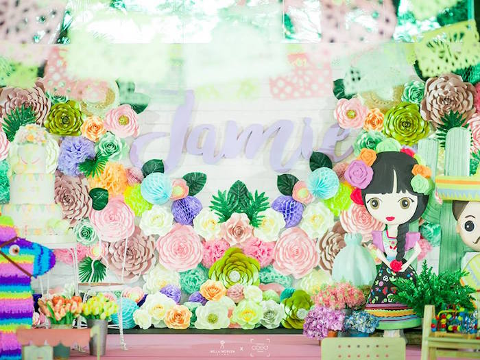 Paper Flower Fiesta Backdrop from a Mexican Fiesta Birthday Party on Kara's Party Ideas | KarasPartyIdeas.com (11)