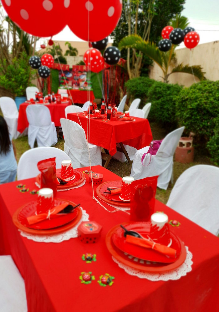 Red & White Ladybug Themed Guest Tables from a Miraculous Ladybug Birthday Party on Kara's Party Ideas | KarasPartyIdeas.com (8)