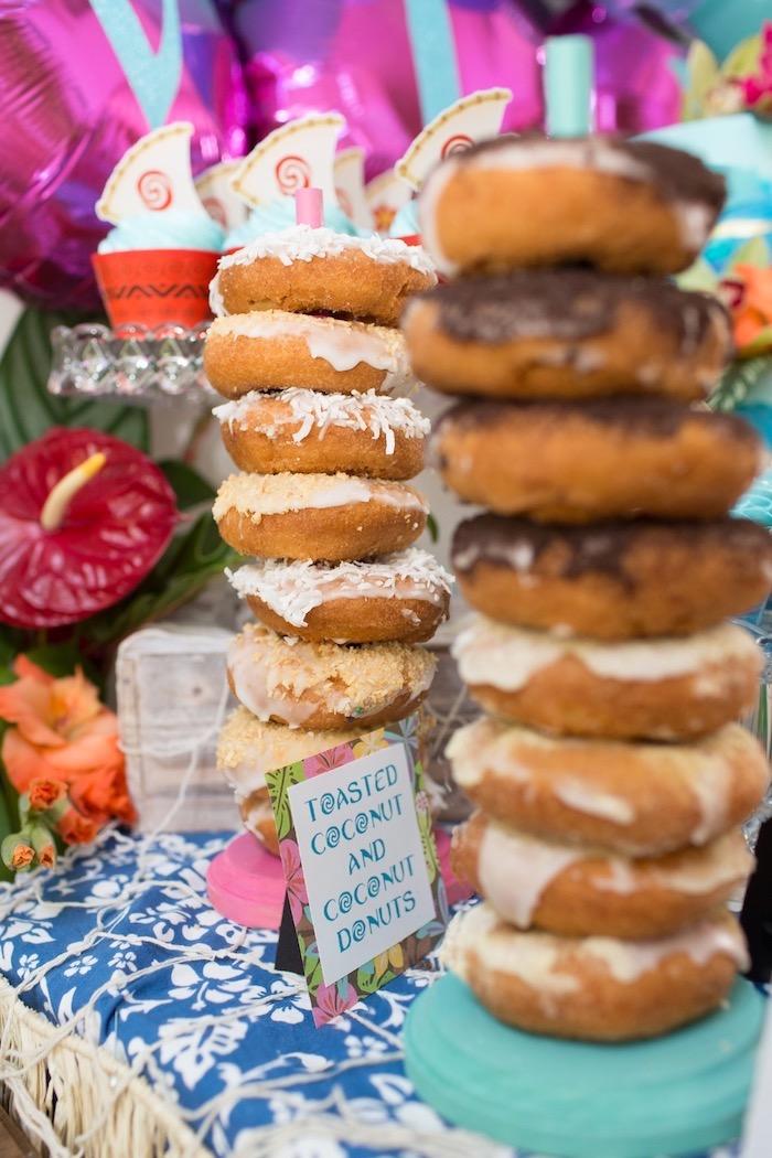Donut Stacks from a Moana Inspired Birthday Luau on Kara's Party Ideas | KarasPartyIdeas.com (25)