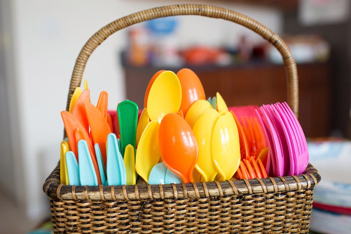 Bright-colored Flatware from a Moana Inspired Birthday Luau on Kara's Party Ideas | KarasPartyIdeas.com (21)