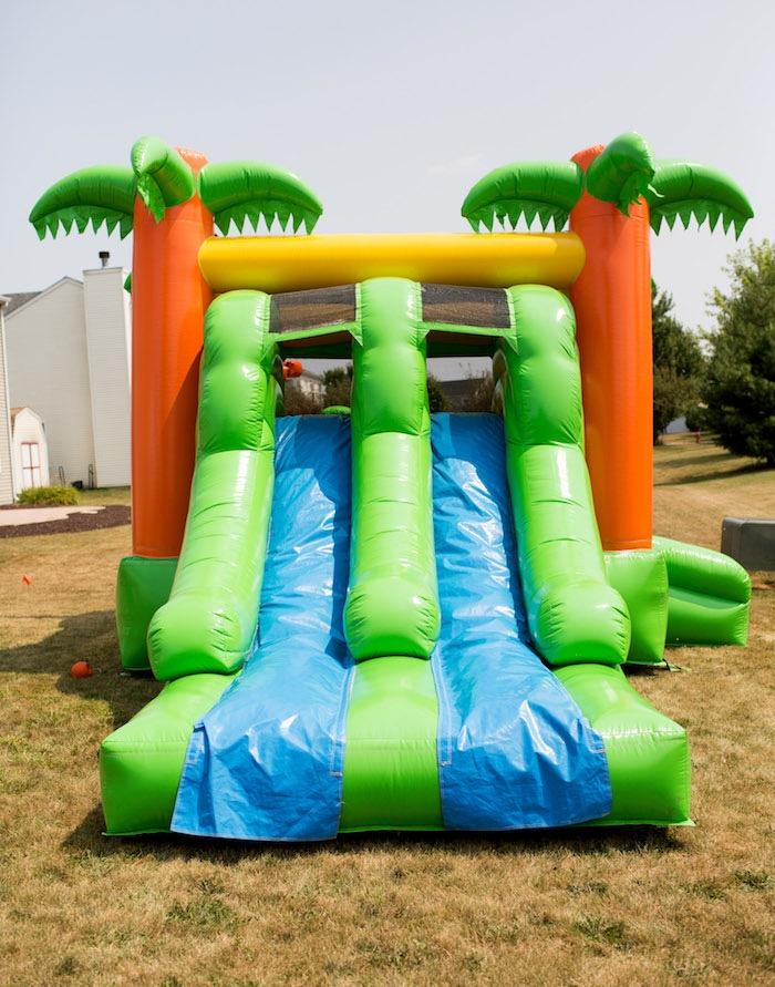 Tropical Bounce Slide from a Moana Inspired Birthday Luau on Kara's Party Ideas | KarasPartyIdeas.com (14)