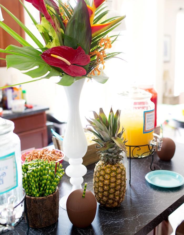 Tropical Party Table from a Moana Inspired Birthday Luau on Kara's Party Ideas | KarasPartyIdeas.com (12)