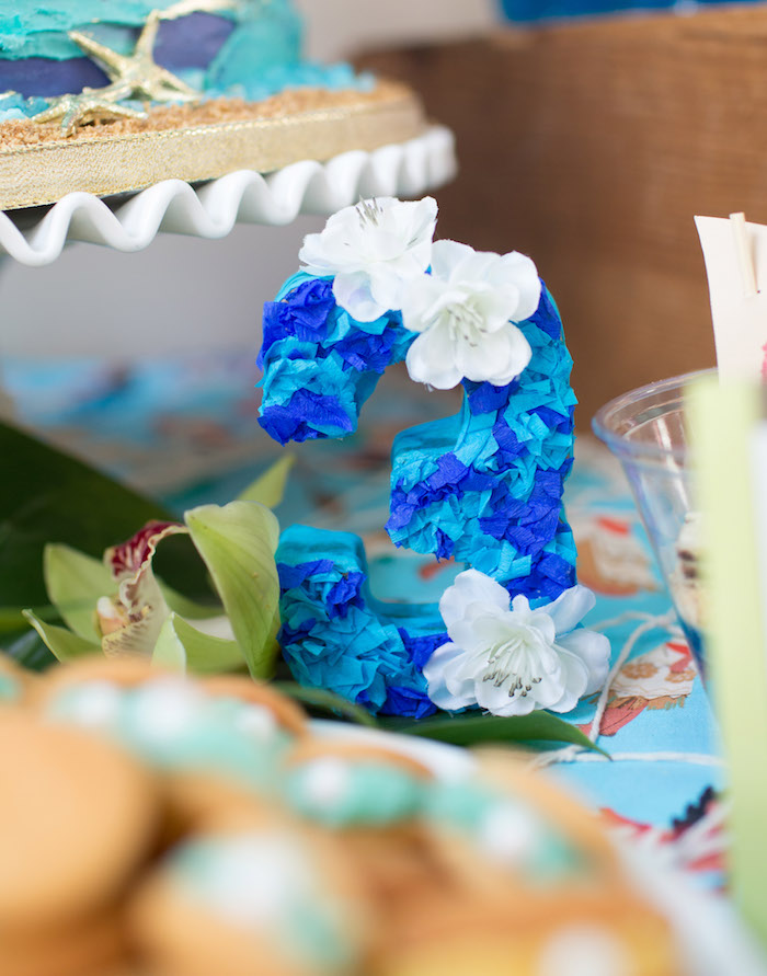 Tissue Adorned Number from a Moana Inspired Birthday Luau on Kara's Party Ideas | KarasPartyIdeas.com (8)