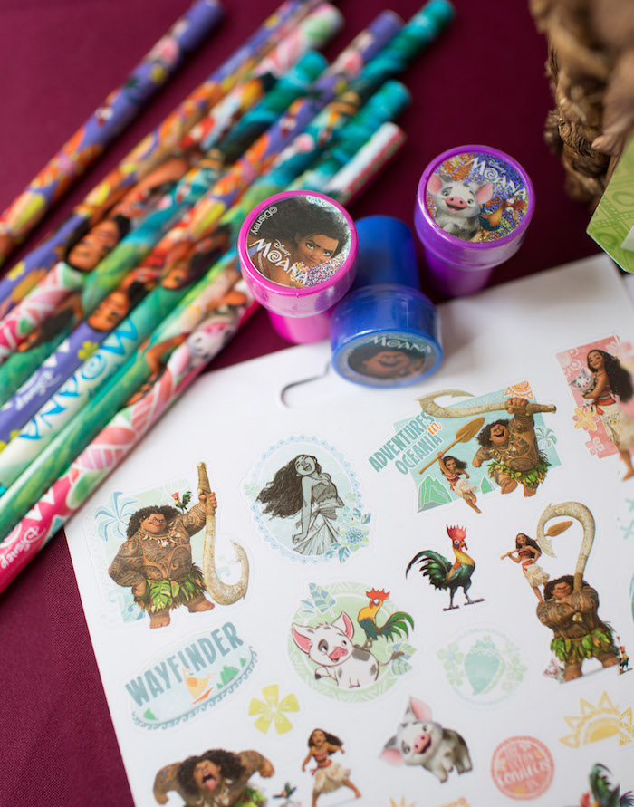 Moana Tattoos, Stamps and Pencil Favors from a Moana Inspired Birthday Luau on Kara's Party Ideas | KarasPartyIdeas.com (6)