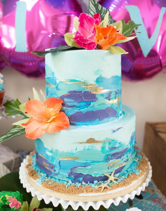 Tropical Cake from a Moana Inspired Birthday Luau on Kara's Party Ideas | KarasPartyIdeas.com (33)