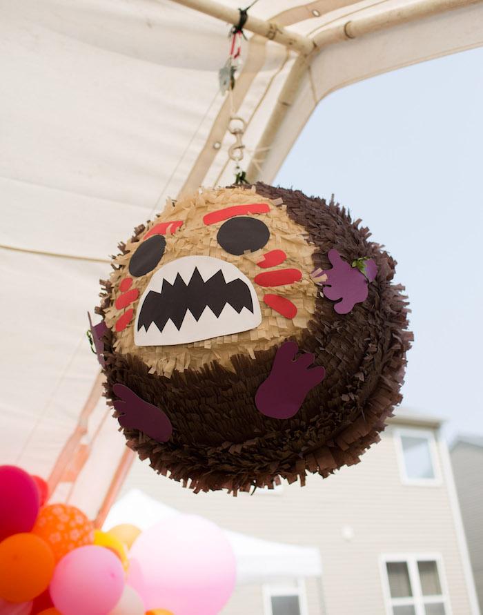 Kakamora Coconut Pinata from a Moana Inspired Birthday Luau on Kara's Party Ideas | KarasPartyIdeas.com (4)