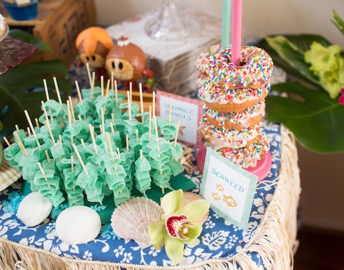 Sprinkle Donuts & Candy Seaweed from a Moana Inspired Birthday Luau on Kara's Party Ideas | KarasPartyIdeas.com (30)
