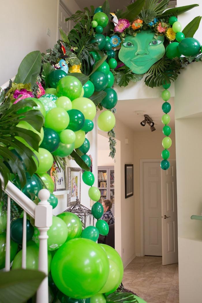 Te Fiti Balloon Staircase from a Moana Inspired Birthday Luau on Kara's Party Ideas | KarasPartyIdeas.com (28)