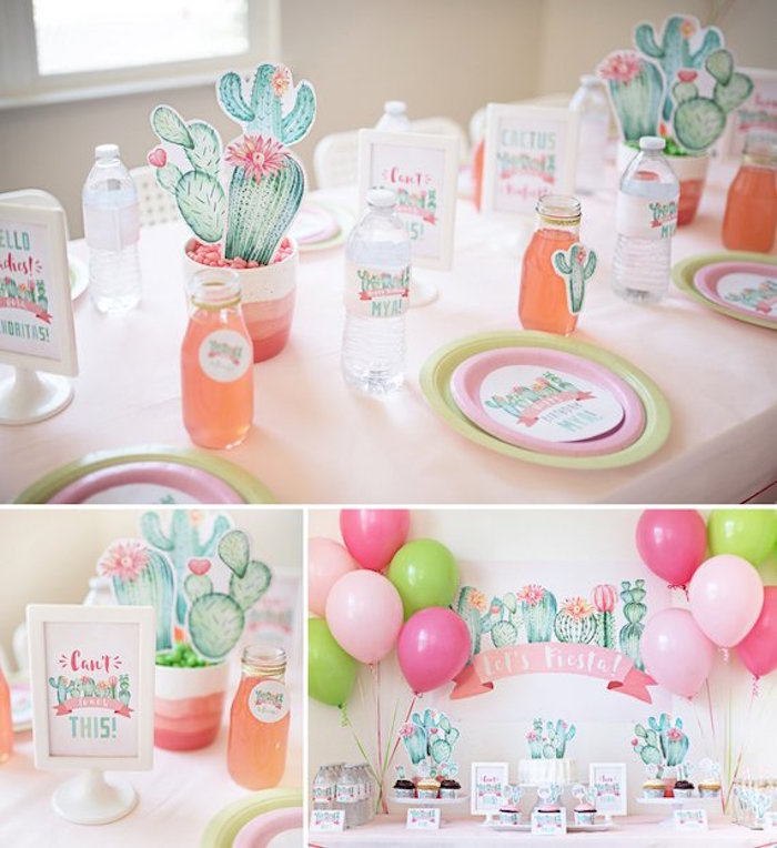 Cactus Party Tables from a Pastel Cactus Party on Kara's Party Ideas | KarasPartyIdeas.com (11)